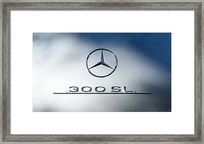 1957 Mercedes-benz Gullwing 300 Sl Emblem Framed Print