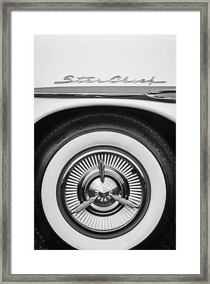 1957 Pontiac Star Chief Hardtop Wheel Emblem -0515bw Framed Print by Jill Reger