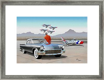 1957 Thunderbird  With F-84 Gunmetal Vintage Ford Classic Art Sketch Rendering           Framed Print