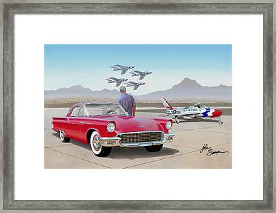 1957 Thunderbird  With F-84 Thunderbirds  Red  Classic Ford Vintage Art Sketch Rendering         Framed Print