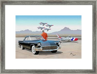 1957 Thunderbird  With F-84 Thunderbirds Vintage Ford Classic Car Art Sketch Rendering          Framed Print