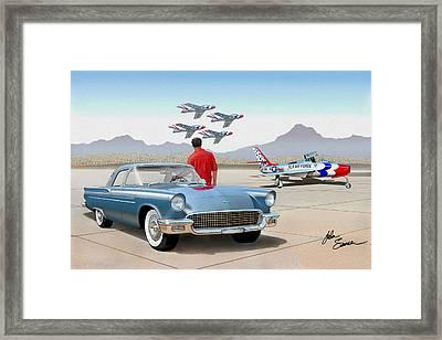 1957 Thunderbird  With F84 Thunderbirds  Azure Blue  Classic Rendering  Framed Print by John Samsen
