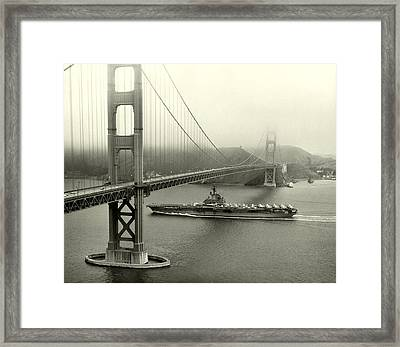 1957 Uss Hancock In San Francisco Framed Print by Historic Image