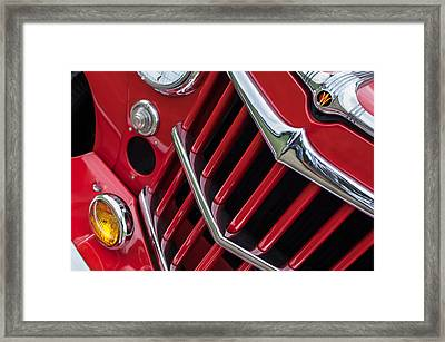 1957 Willys Jeep 6-226 Wagon Grille Emblem Framed Print by Jill Reger