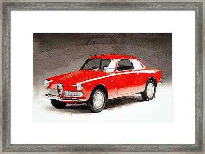 1958 Alfa Romeo Giulietta Sprint Watercolor Framed Print by Naxart Studio