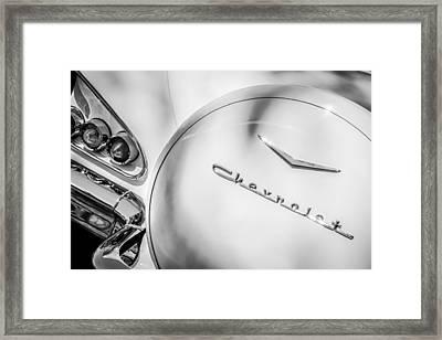1958 Chevrolet Bel Air Convertible Taillight Emblem -0272bw Framed Print