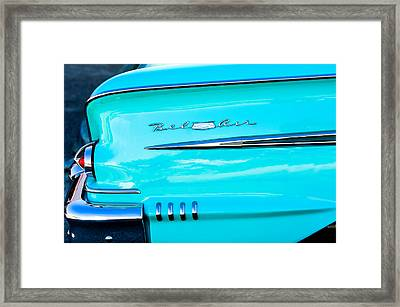 1958 Chevrolet Belair Tail Emblem Framed Print by Jill Reger