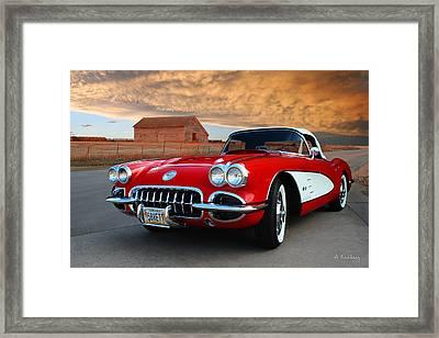 1958 Corvette Framed Print by Andrea Kelley