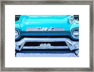 1958 Gmc Series 101-s Pickup Truck Grille Emblem Framed Print by Jill Reger