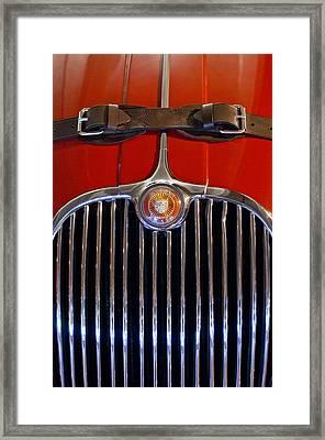 1958 Jaguar Xk150 Roadster Grille Emblem Framed Print by Jill Reger