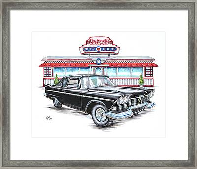 1958 Plymouth Savoy And Diner Framed Print