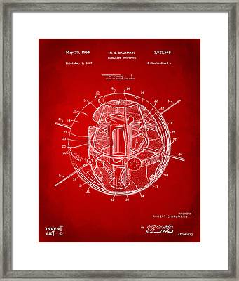 1958 Space Satellite Structure Patent Red Framed Print by Nikki Marie Smith