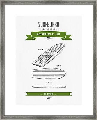 1958 Surfboard Patent Drawing - Retro Green Framed Print