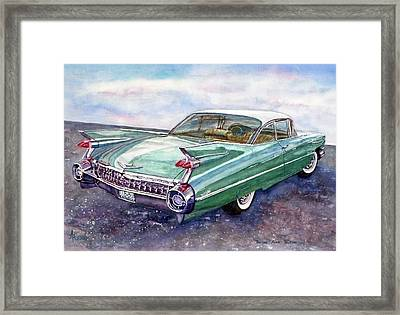 1959 Cadillac Cruising Framed Print by Anna Ruzsan