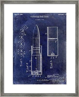 1959 Cartidge Ram Link Patent Drawing Blue Framed Print
