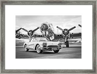 1959 Chevrolet Corvette - B-17 Bomber Framed Print by Jill Reger