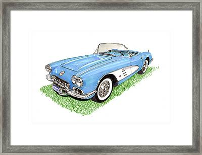 1959 Corvette Frost Blue Framed Print by Jack Pumphrey