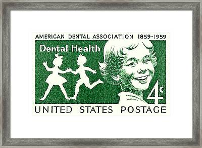 1959 Dental Health Postage Stamp Framed Print by David Patterson