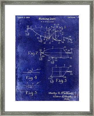1959 Fish Lure Patent Drawing Blue Framed Print