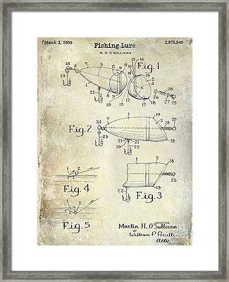 1959 Fish Lure Patent Drawing  Framed Print