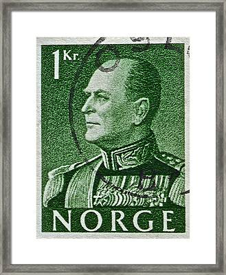 1959 King Olav V Norway Stamp - Oslo Postmark Framed Print by Bill Owen