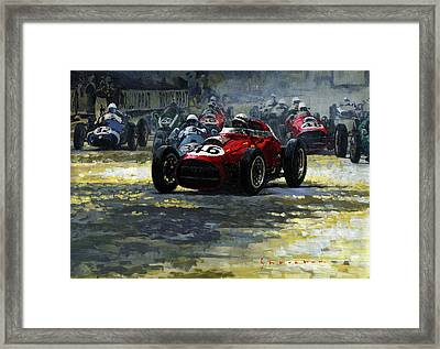 1959 Monaco Gp  #46 Ferrari D246 Jean Behra Framed Print by Yuriy Shevchuk