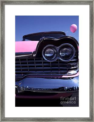 1959 Pink Plymouth Fury With Balloon Framed Print by Anna Lisa Yoder