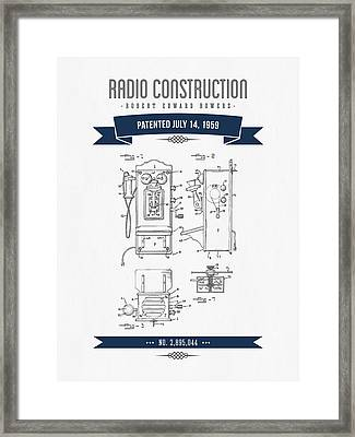 1959 Radio Construction Patent Drawing - Retro Navy Blue Framed Print