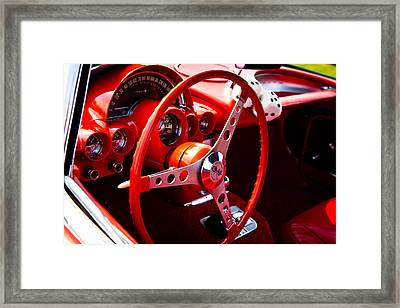 1959 Red Chevy Corvette Framed Print by David Patterson