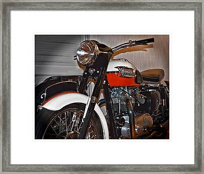Framed Print featuring the photograph 1959 Triumph Motorcycle by Steve Benefiel