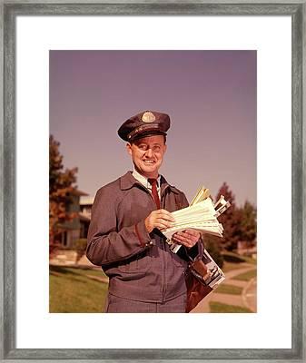 1960 1960s Smiling Mailman Holding Framed Print