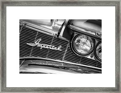 1960 Chrysler Imperial Grille Emblem -0269bw Framed Print