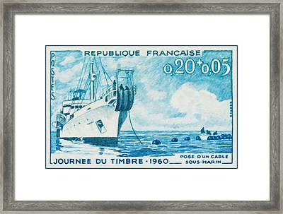 1960 Day Stamp Installation Of A Submarine Cable Framed Print
