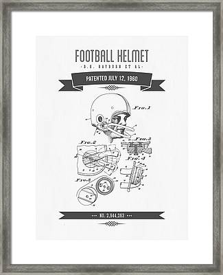 1960 Football Helmet Patent Drawing - Retro Gray Framed Print by Aged Pixel