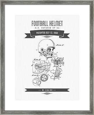 1960 Football Helmet Patent Drawing - Retro Gray Framed Print