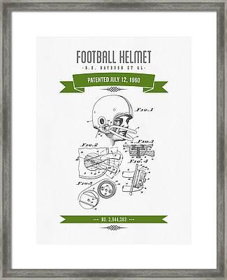 1960 Football Helmet Patent Drawing - Retro Green Framed Print