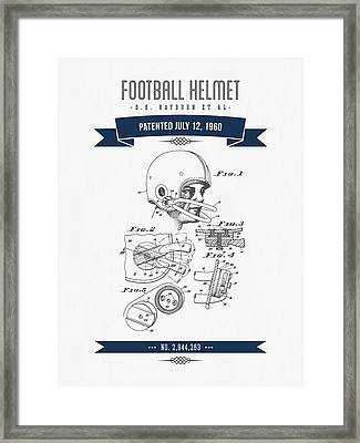 1960 Football Helmet Patent Drawing - Retro Navy Blue Framed Print by Aged Pixel