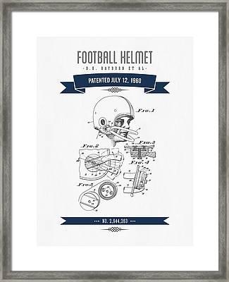 1960 Football Helmet Patent Drawing - Retro Navy Blue Framed Print
