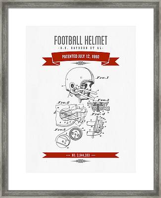 1960 Football Helmet Patent Drawing - Retro Red Framed Print by Aged Pixel
