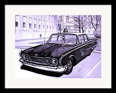 Barney Fifes Police Car Paintings Framed Prints