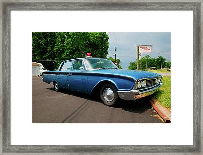 1960 Ford Police Car In Mount Airy Framed Print