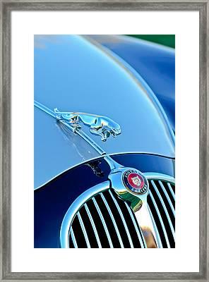 1960 Jaguar Mk II 2.4-liter Saloon Grille Emblem - Hood Ornament Framed Print by Jill Reger