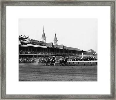 1960 Kentucky Derby Horse Racing Vintage Framed Print