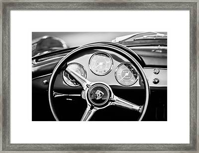 1960 Porsche 356 B Roadster Steering Wheel Emblem -1096bw Framed Print