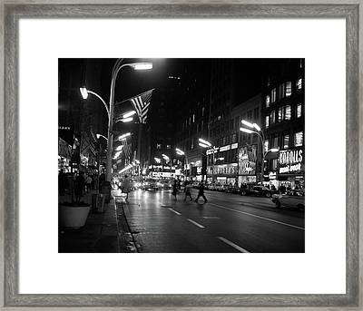 1960s 1963 Night Scene Of Busy Traffic Framed Print