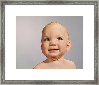 1960s 1970s Baby Portrait With Eyes Framed Print
