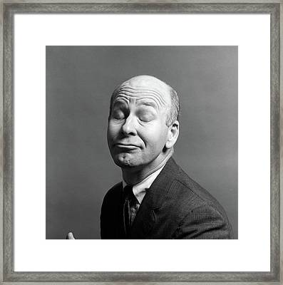 1960s 1970s Character Bald Man Suit Tie Framed Print