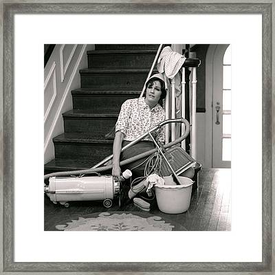 1960s 1970s Exhausted Housewife Sitting Framed Print