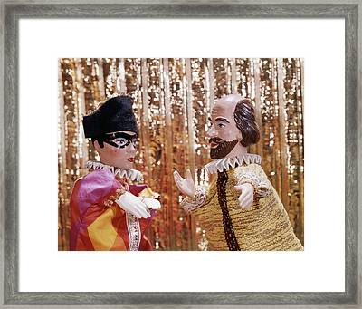 1960s 1970s Hand Puppets Show Harlequin Framed Print
