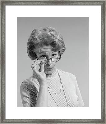 1960s 1970s Mature Woman Looking Framed Print